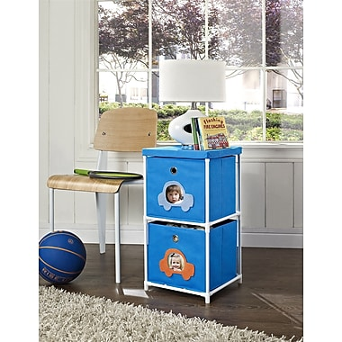 Altra Furniture Kids' 2-Bin Storage Unit, Blue with Car Theme, BLUE