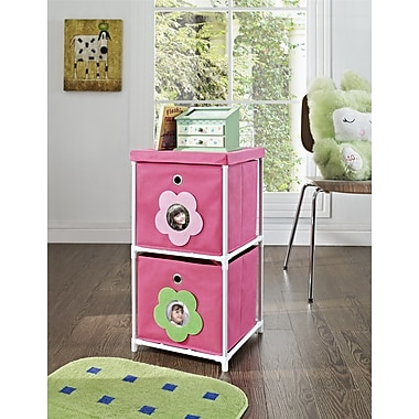 Altra Furniture Kids' 2-Bin Storage Unit, Pink with Flower Theme, PINK