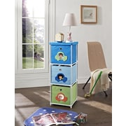 Altra Furniture Kids' 3-Bin Storage Unit, Blue with Car Theme, BLUE