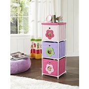 Altra Furniture Kids' 3-Bin Storage Unit, Pink with Flower Theme, PINK