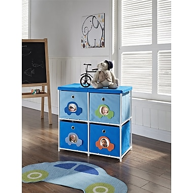 Altra Furniture Kids' 4-Bin Storage Unit, Blue with Car Theme, BLUE