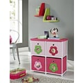 Altra Furniture Kids' 4-Bin Storage Unit, Pink with Flower Theme, PINK