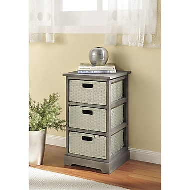 Altra Furniture Storage Unit with 3 Baskets, GRAY