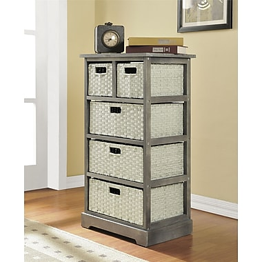 Altra Furniture Storage Unit with 5 Baskets, GRAY