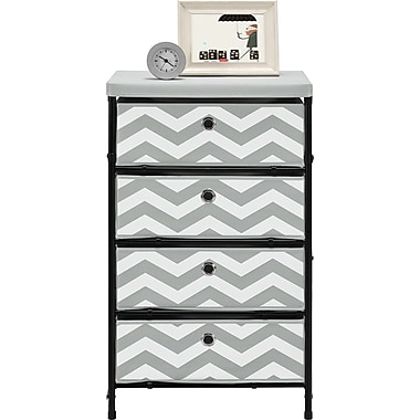 Altra Furniture 4-bin Storage System, Gray and White Chevron pattern, PATTERN/DESIGN