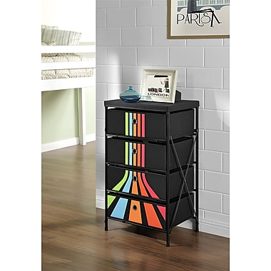 Altra Furniture Altra Furniture™ 4-bin Storage System, Black with Stripes, BLACK