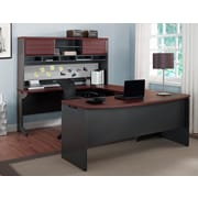 Altra Pursuit U-Shaped Desk with Hutch Bundle, Cherry/Gray