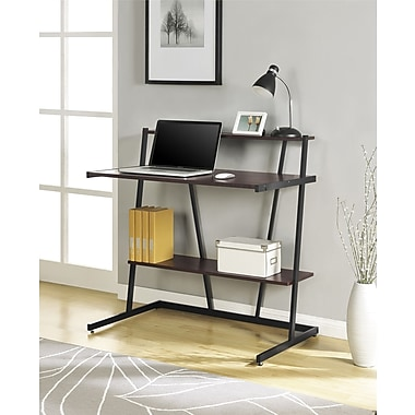 Altra Furniture Small Computer Desk with Shelf, Cherry and Black Finish, CHERRY