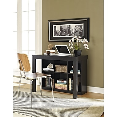 Altra Furniture Parsons Style Desk with Drawer and Bookcase, Black Oak Finish, BLACK