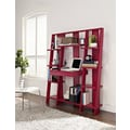 Altra Furniture Ladder Bookcase with Desk, Red Finish, RED