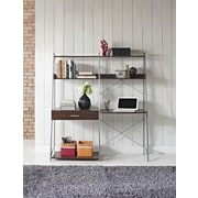 Altra Furniture Ladder Desk with Tower Bookcase, Walnut Finish, WALNUT