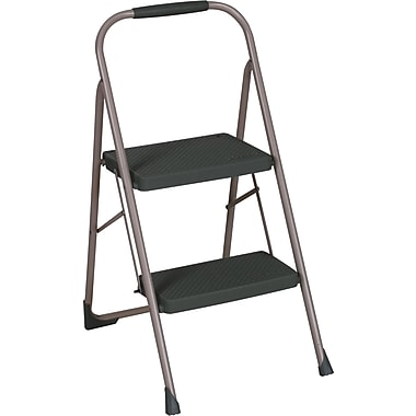 Cosco Products Cosco Two Step Big Step Folding Step Stool with Rubber Hand Grip, PLATINUM/BLACK/WAVEY