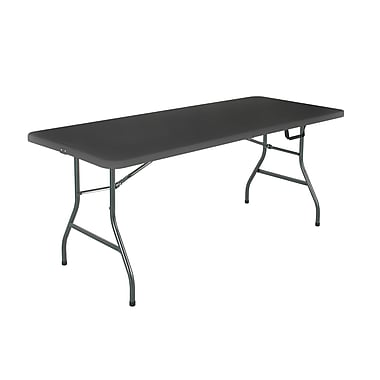 Cosco Products Cosco Black 6 foot Centerfold Blow Molded Folding Table, BLACK