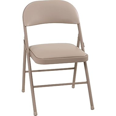 Cosco 14993ANT4E Vinyl Folding Chair, Antique Linen