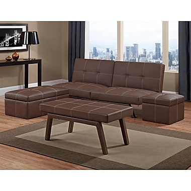 DHP 3182198DS Faux Leather Split Back Futon, Brown
