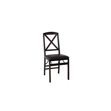Cosco Products Cosco Espresso Wood Folding Chair with vinyl seat &  X-Back (2-pack), ESPRESSO