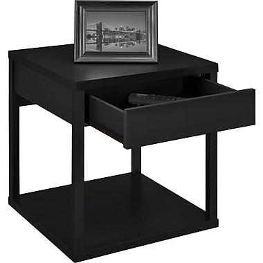 Altra Furniture Parsons Table with Drawer, BLACK