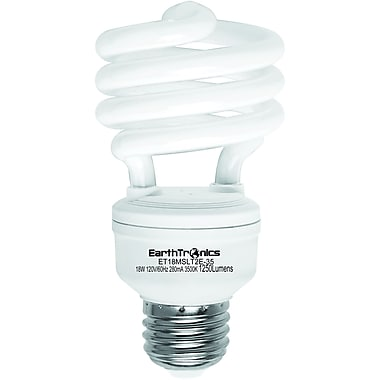 Earthbulb® 18 W 3500K T2E Spiral Compact Florescent Light Bulb, Bright White, 12/Pack