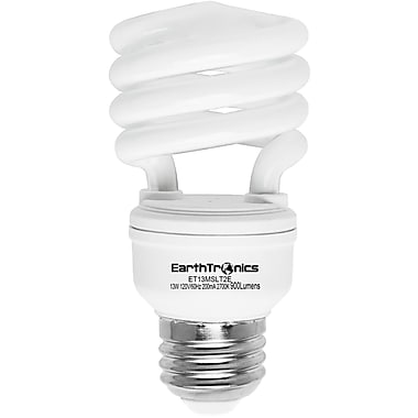 Earthbulb® 13 W 6500K T2E Spiral Compact Florescent Light Bulb, Daylight, 12/Pack