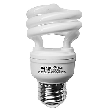 Earthbulb® 9 W 3500K Micro T2E Spiral Compact Florescent Light Bulb, Bright White, 12/Pack