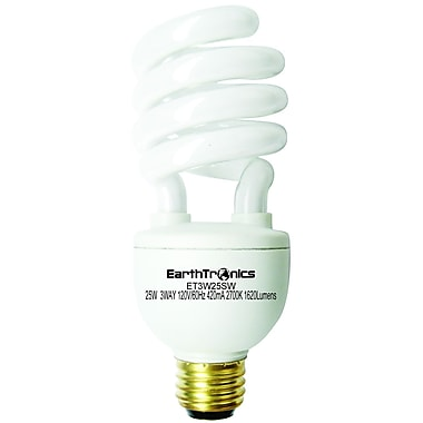 Earthbulb® 25 W 3 Way 2700K Spiral Compact Florescent Light Bulb, Soft White