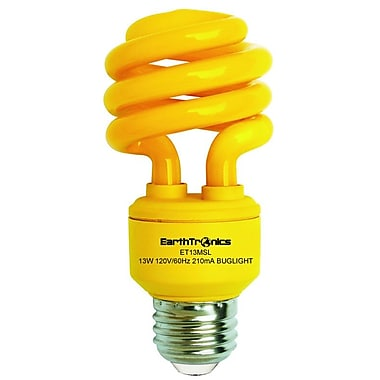 Earthbulb® 13 W Spiral Compact Fluorescent Light Bulb, Bug Yellow, 12/Pack