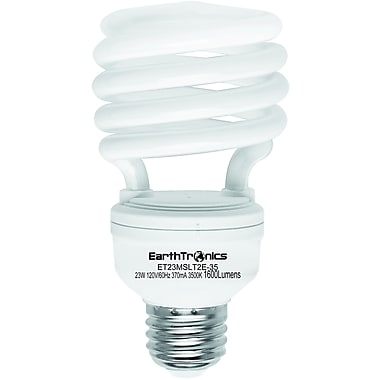 Earthbulb® 23 W 3500K T2E Spiral Compact Fluorescent Light Bulb, Bright White, 12/Pack