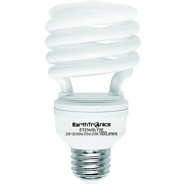 Earthbulb® 23 W 2700K T2E Spiral Compact Florescent Light Bulb, Soft White, 12/Pack