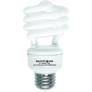 Earthbulb® 18 W 2700K T2E Spiral Compact Fluorescent Light Bulb, Soft White, 12/Pack