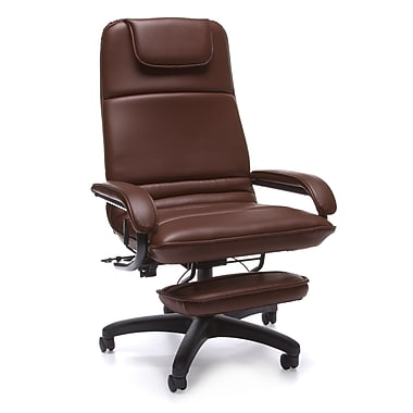 OFM 680-703 Barrister Vinyl High-Back Executive Recliner with Fixed Arms, Burgundy