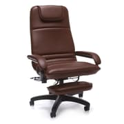 OFM Barrister Faux Leather Executive Office Chair, Fixed Arms, Burgundy (811588015375)