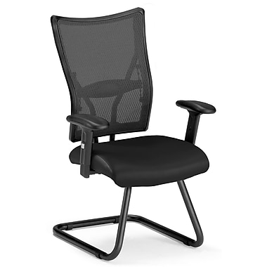 OFM Talisto Series Leather Executive Guest Chair With Mesh Mid-Back, Black