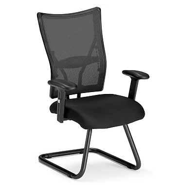 OFM Talisto Series Fabric Executive Guest Chair With Mesh Mid-Back, Black