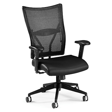 OFM Talisto Series Leather Executive Chair With Mesh Low-Back, Black