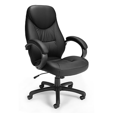 Stimulus High-Back Leatherette Executive Chair, Fixed Arm, Black
