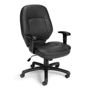 OFM 521-LX-AA Stimulus Leatherette Mid-Back Executive Chair with Adjustable Arms, Black