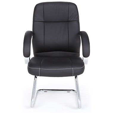 OFM Stimulus Series Leatherette Executive Guest Chair With Mid-Back, Black