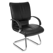 OFM Sharp Series Leather Guest Chair With Mid-Back, Black