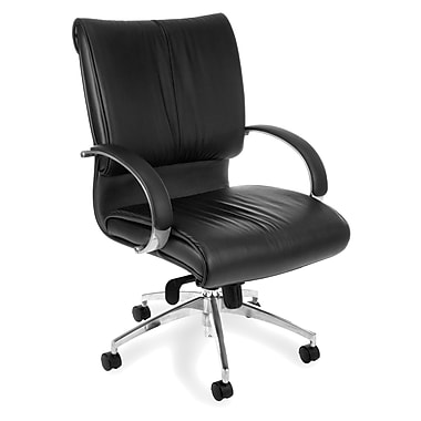 OFM 511-L Sharp Leather Mid-Back Executive Chair with Fixed Arms, Black