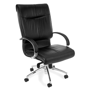 OFM High-Back Leather Executive Chair, Fixed Arm, Black