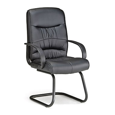 OFM Encore Series Leatherette Executive Guest Chair With Sled Base, Black