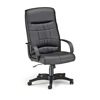 OFM High-Back Leatherette Executive Chair, Fixed Arm, Black