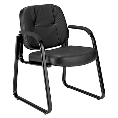 OFM™ Leather Guest/Reception Chair With Sled Base, Black
