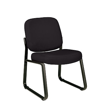 OFM Fabric Padded Guest/Reception Chair With Fully Upholstered Back, Black