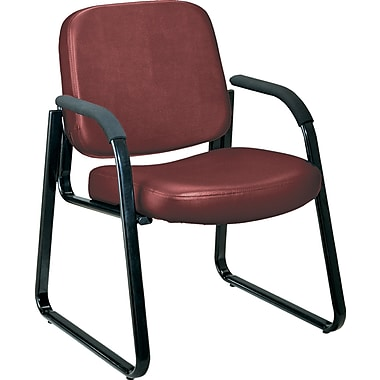 OFM™ Anti-Bacterial Vinyl Padded Guest/Reception Chair With Arms and Back, Wine