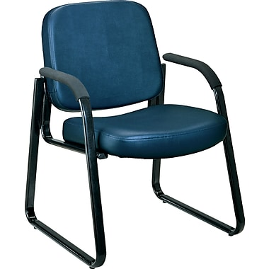OFM™ Anti-Bacterial Vinyl Padded Guest/Reception Chair With Arms and Back, Navy