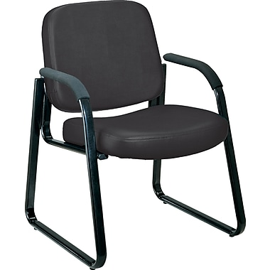 OFM™ Anti-Bacterial Vinyl Padded Guest/Reception Chair With Arms and Back, Black