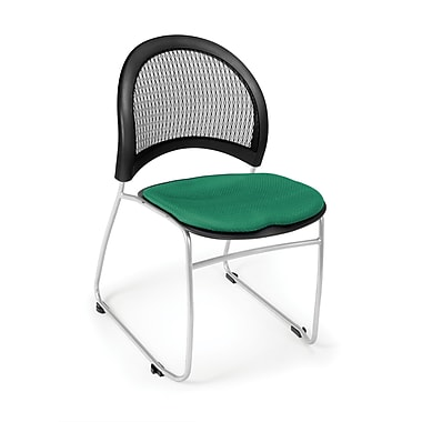 OFM Moon Series Fabric Stack Chair With Mesh Back, Shamrock Green