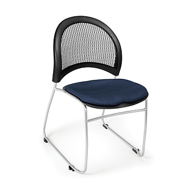 OFM Moon Series Fabric Stack Chair With Mesh Back, Navy
