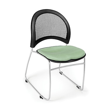 OFM Moon Series Fabric Stack Chair With Mesh Back, Sage Green